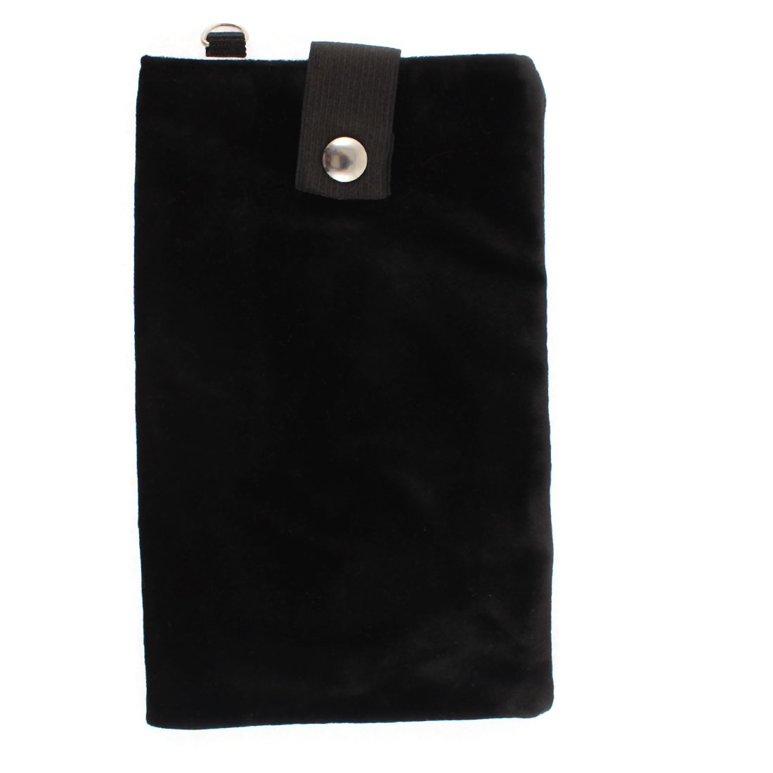 Velvet Dual Layer Magnetic Clasp Button Cell Phone Pouch Sleeve Bag Black