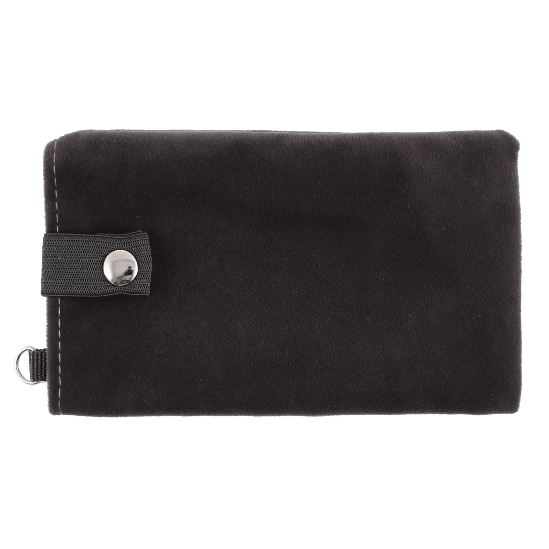 Velvet Magnetic Clasp Button Cell Phone Pouch Sleeve Bag Black Gray 16x9.5cm