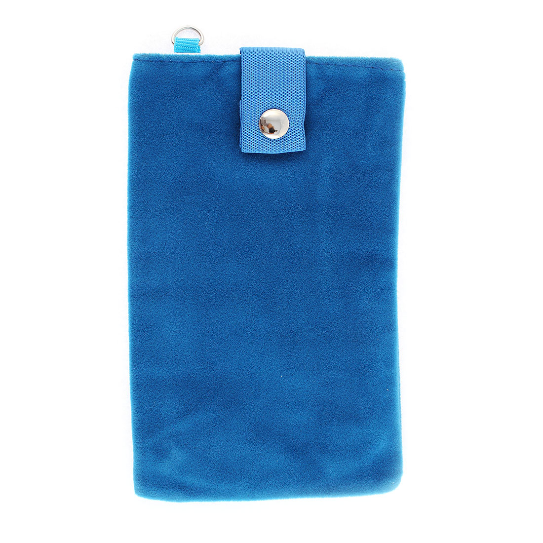 Velvet Dual Layer Magnetic Clasp Button Cell Phone Pouch Sleeve Bag Blue
