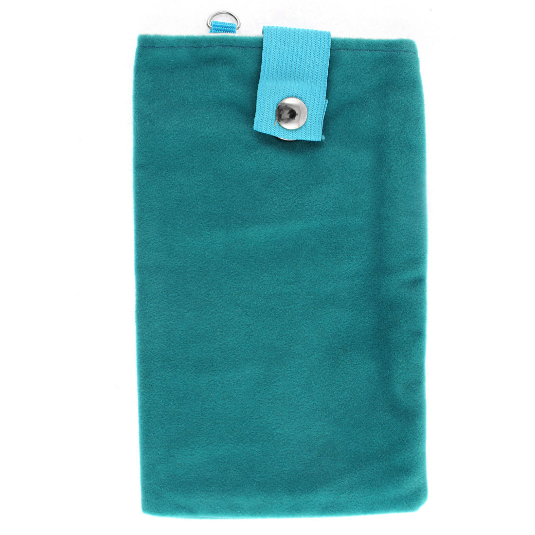 Velvet Dual Layer Magnetic Clasp Button Cell Phone Pouch Sleeve Bag Teal Blue