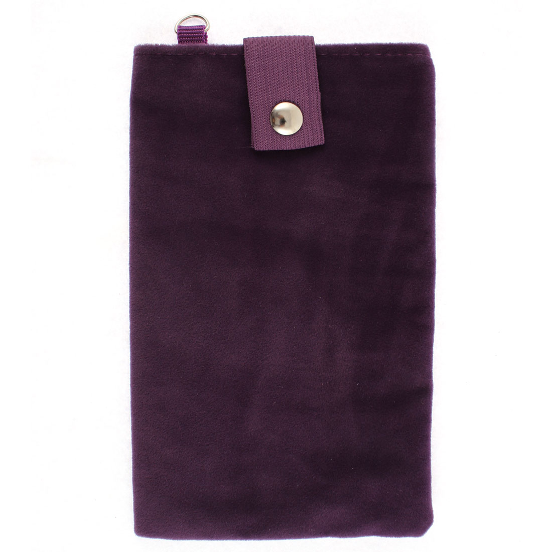 Dual Layer Magnetic Clasp Button Cell Phone Pouch Bag Holder Dark Purple