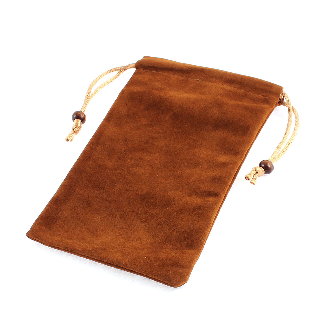 Velvet Drawstring Closure Cell Phone Smartphone Pouch Sleeve Bag Chocolate Color