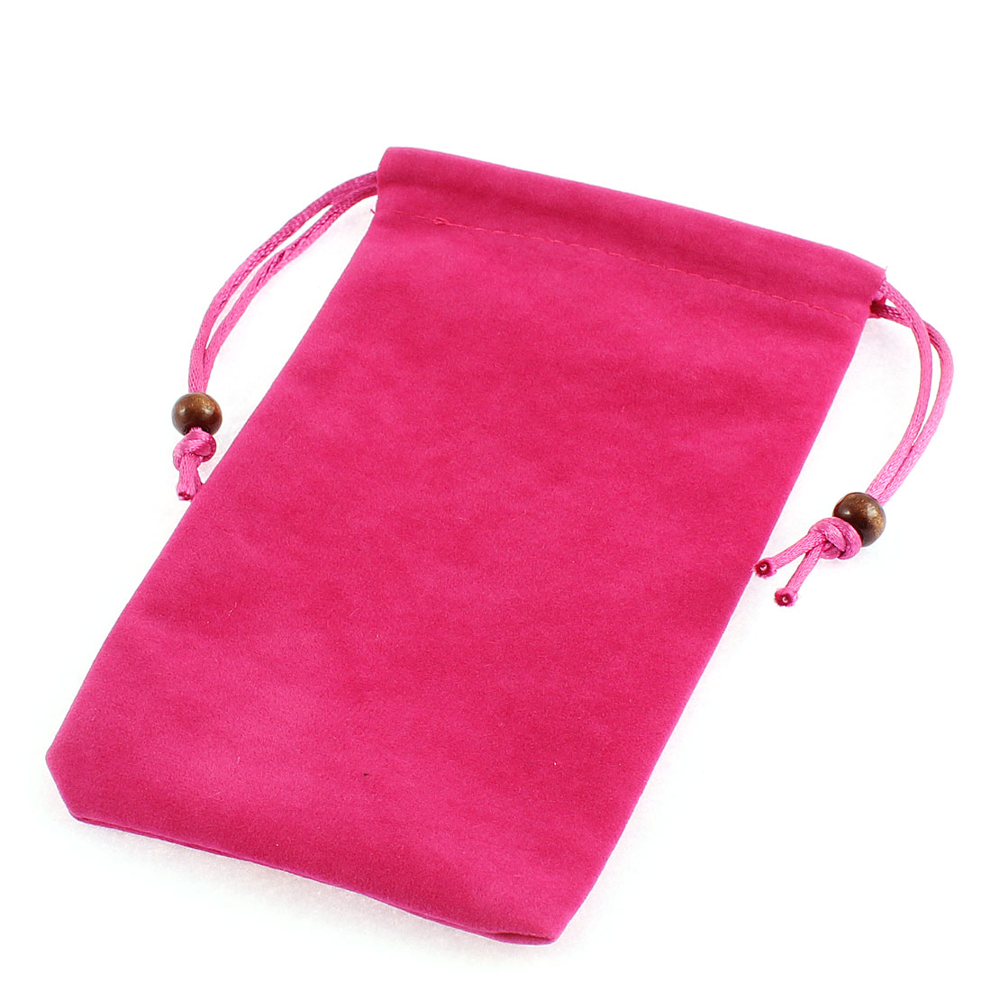 "Drawstring Closure Cell Phone Smartphone Pouch Sleeve Bag Fuchsia 6"" Length"