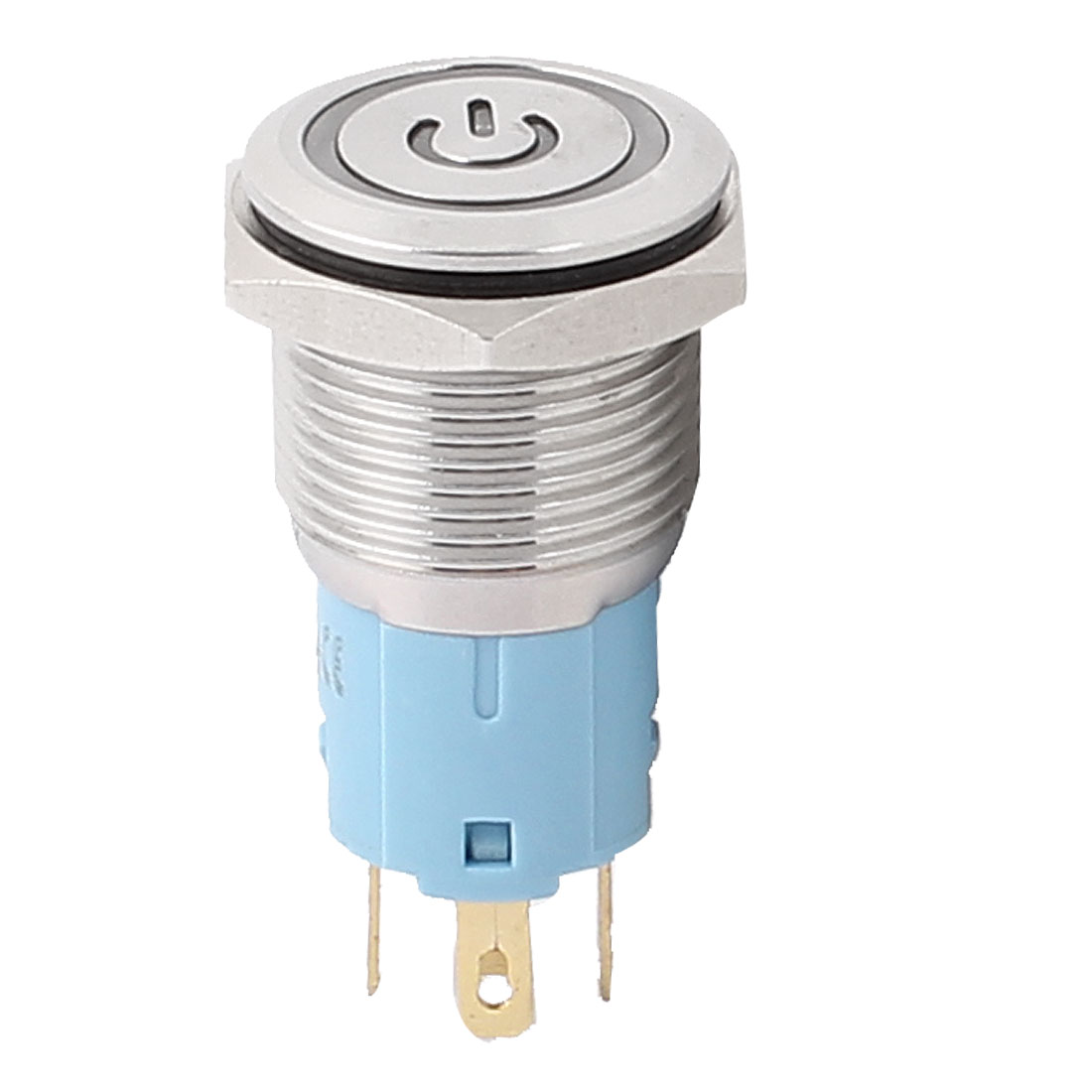 12V 16mm Dia Thread Blue LED Lamp Momentary Metal Pushbutton Power Switch