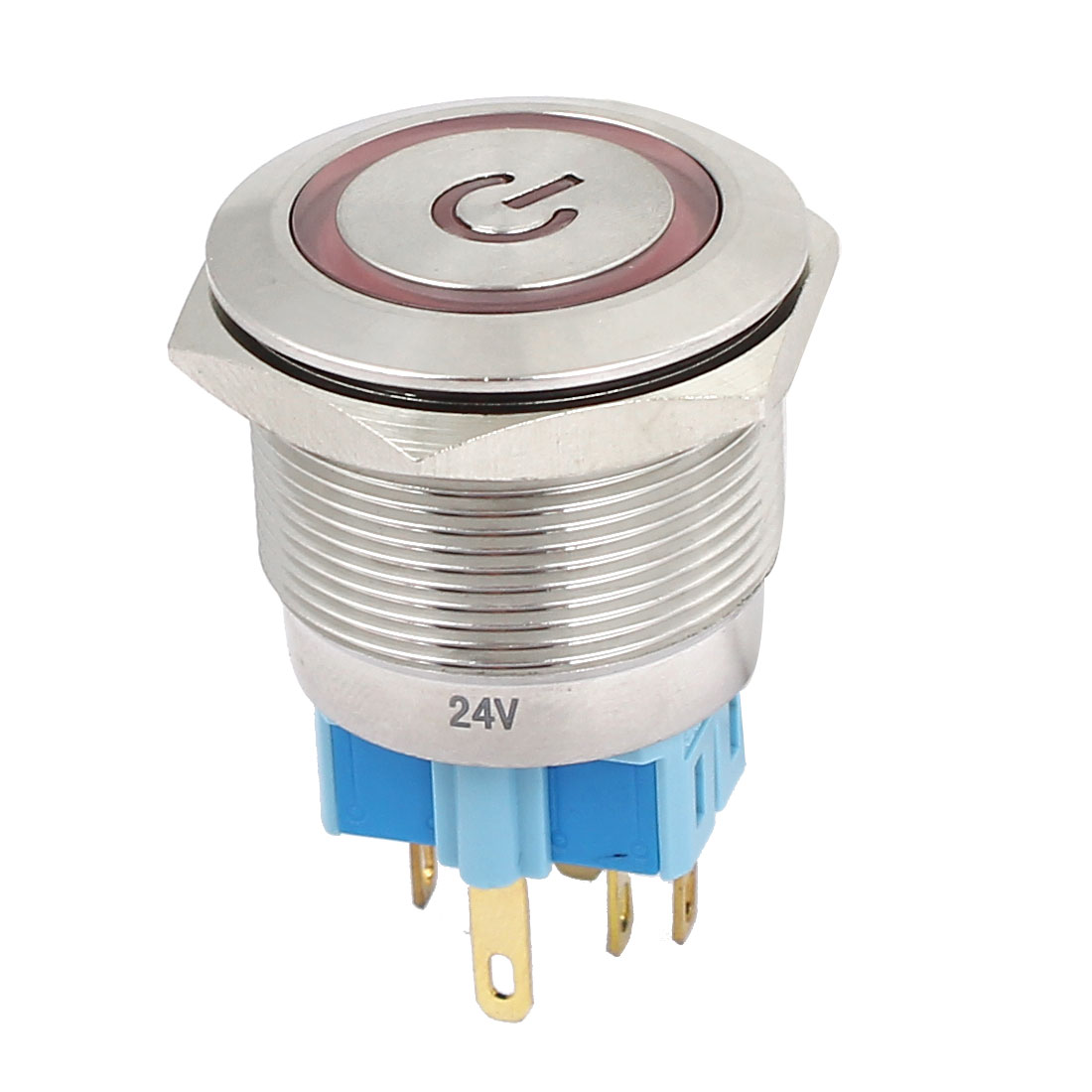 24V 25mm Dia Thread Red LED Lamp Latching Metal Power Pushbutton Switch