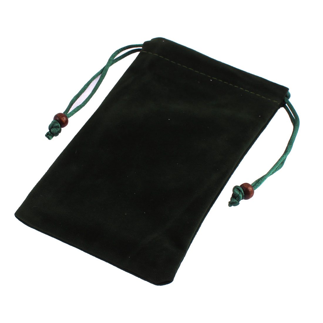 Drawstring Closure Cell Phone Coin Cards Holder Bag Pouch Dark Green