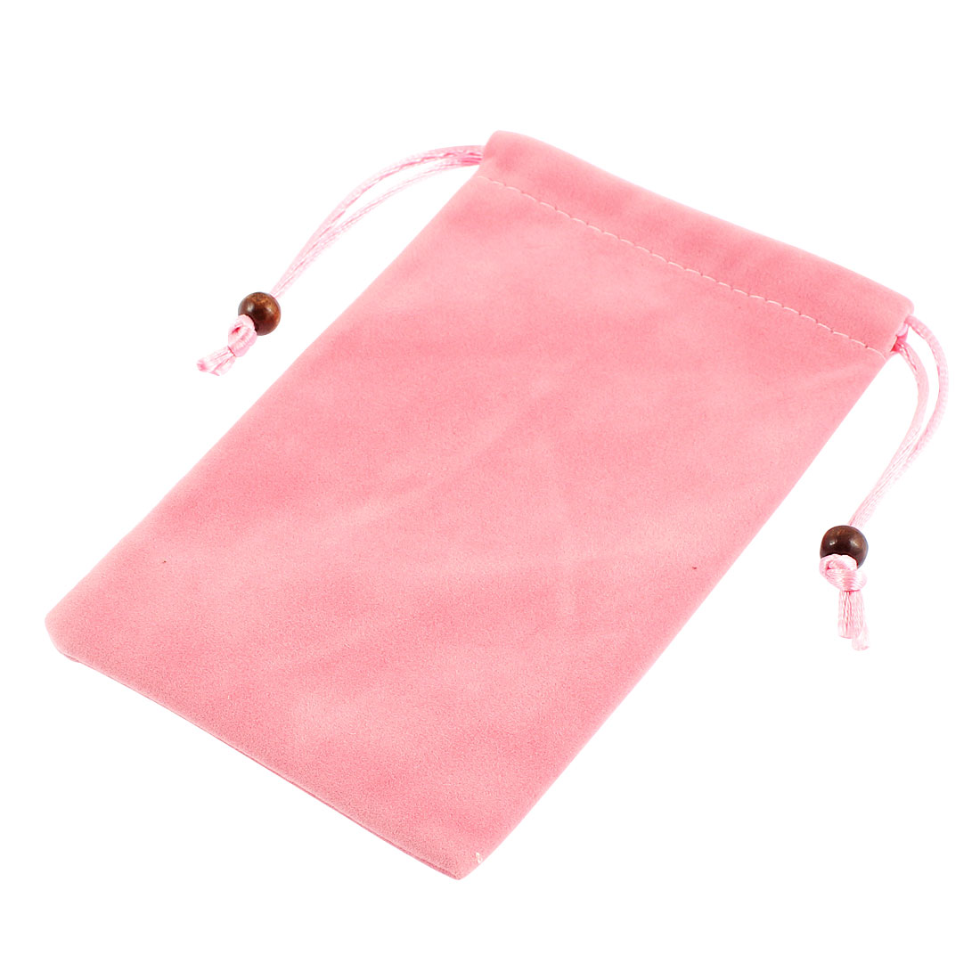 Drawstring Closure Cell Phone MP3 MP4 Pouch Sleeve Bag Holder Light Pink
