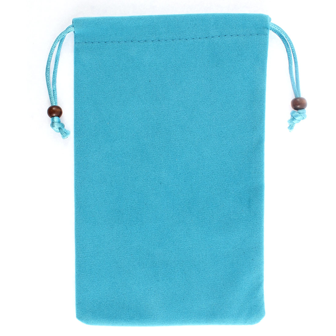 Rectangle Shaped Drawstring Sundries Cell Phone Pouch Sleeve Bag Cyan