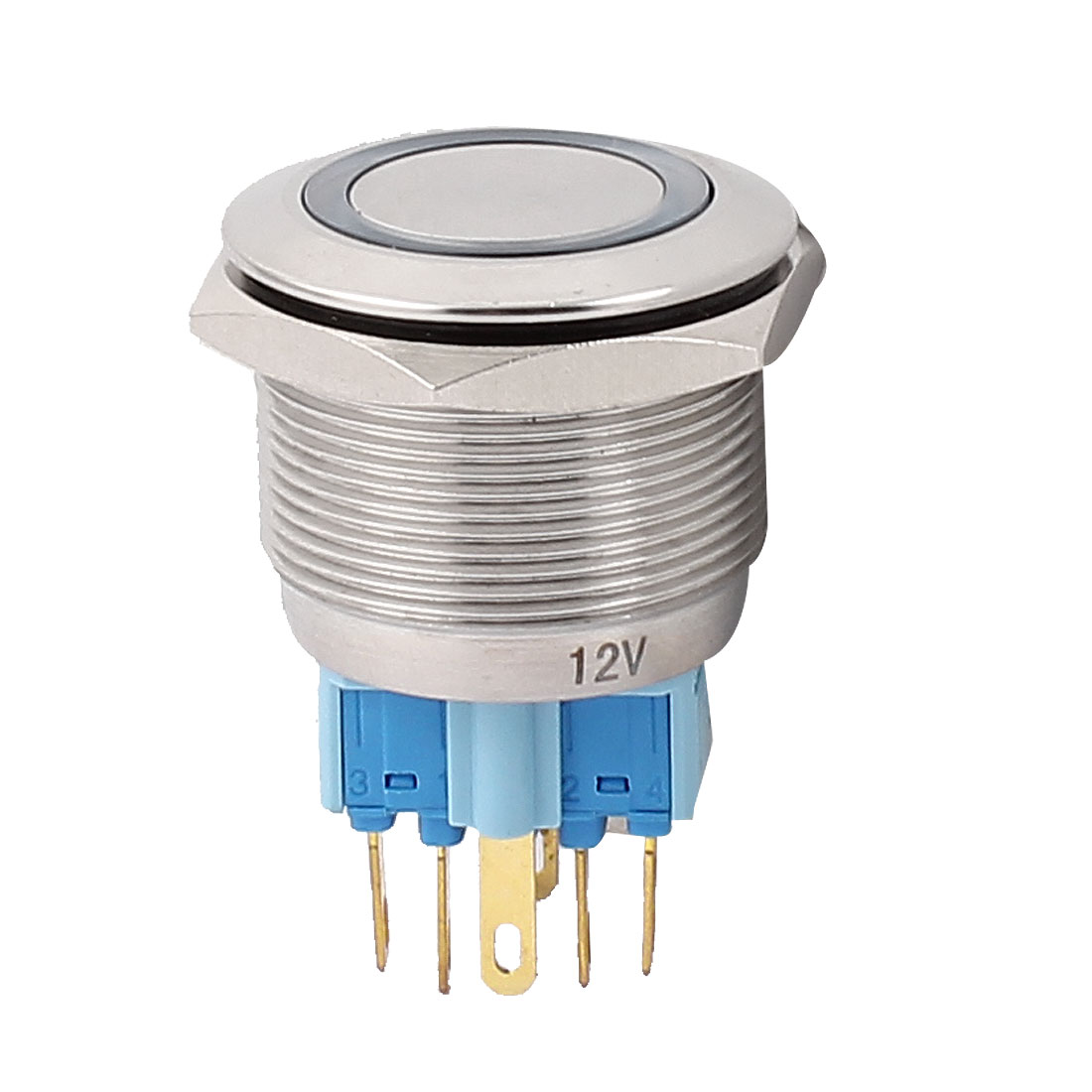 12V 25mm Thread Dia Blue LED Angle Eyes Momentary Metal Pushbutton Switch