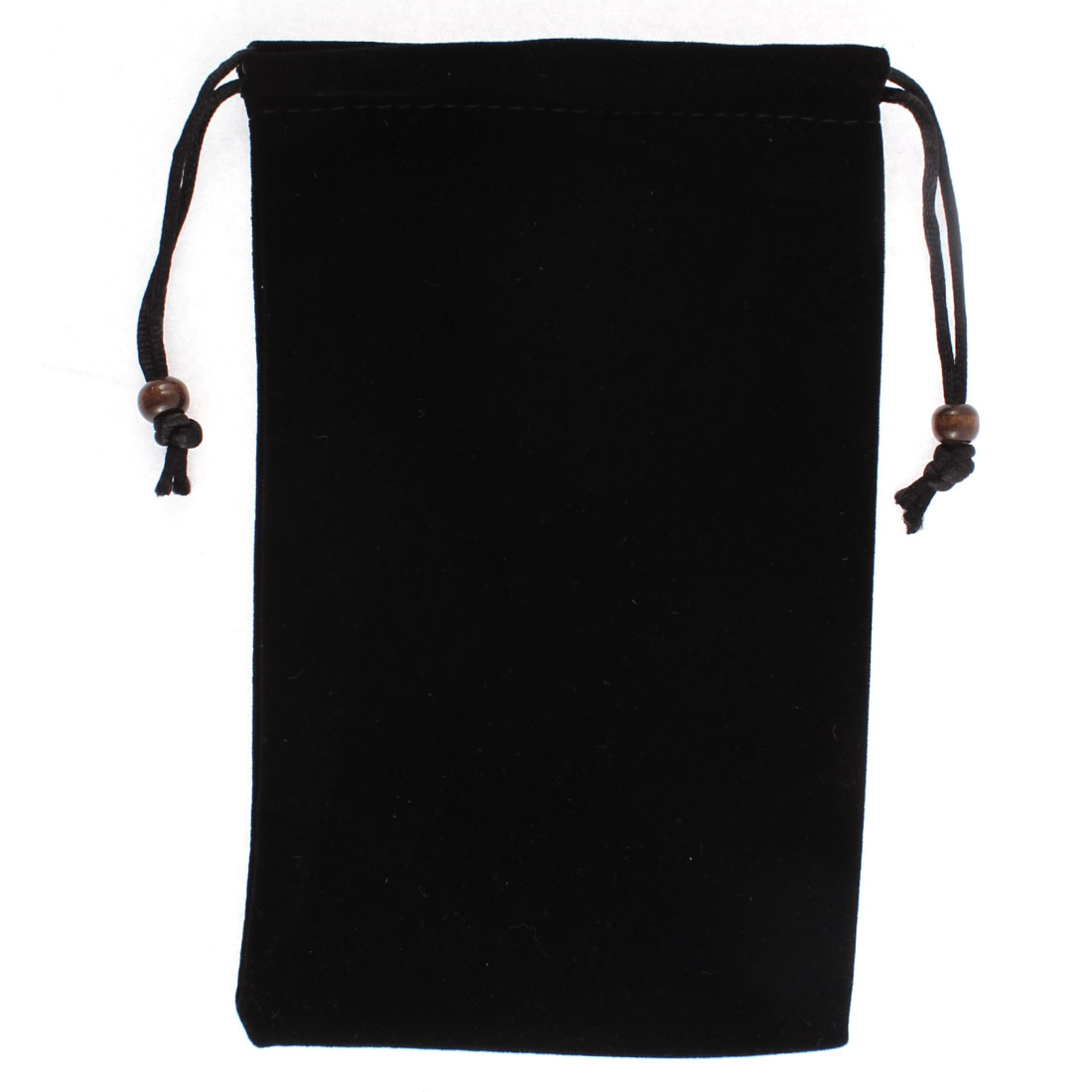 Drawstring Closure Cell Phone Coin Money Holder Pouch Sleeve Bag Black