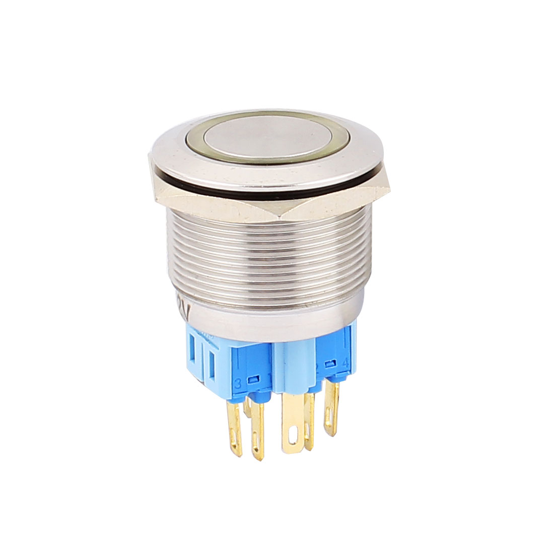12V 25mm Dia Thread Yellow LED Angle Eyes Momentory Metal Pushbutton Switch