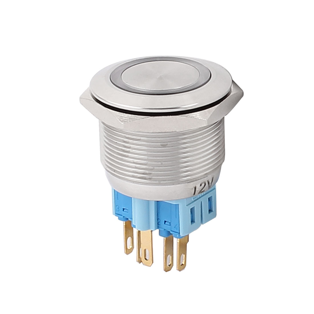 12V 25mm Dia Thread White LED Angle Eyes Momentary Metal Pushbutton Switch