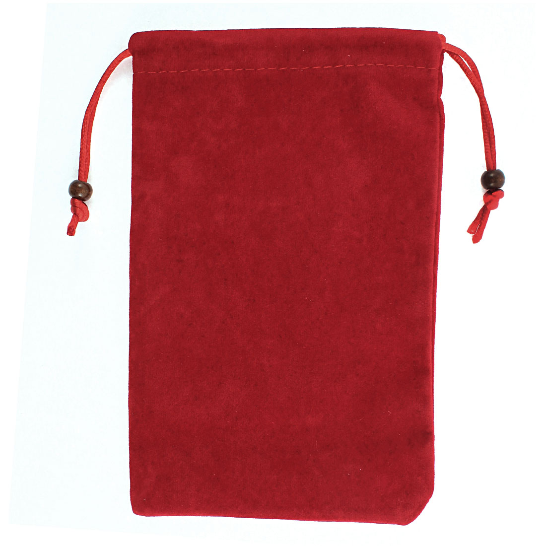 Velvet Drawstring Closure Cell Phone Pouch Sleeve Bag Dark Red 7 Inch Length
