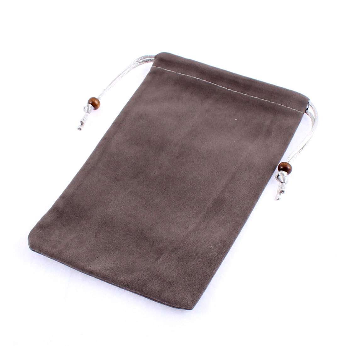 Velvet Rectangle Shaped MP3 MP4 Cell Phone Holder Pouch Bag Dark Gray