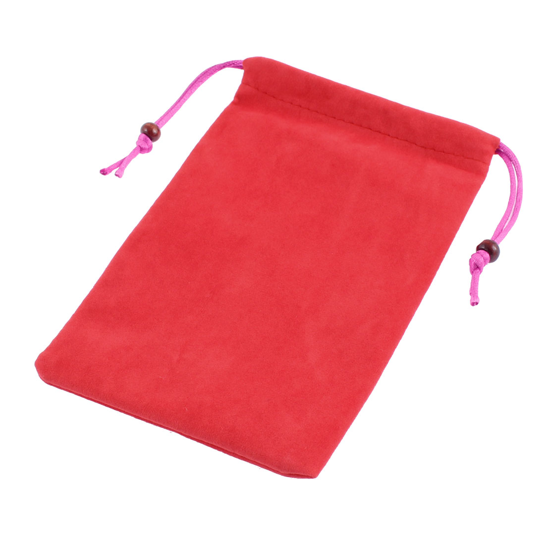 Velvet Drawstring Closure Glasses Smartphone Cell Phone Pouch Red 7 Inch Length