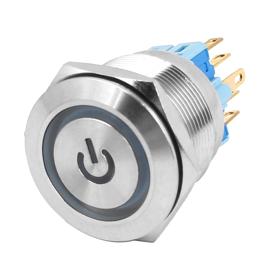 24V 25mm Dia Thread Green LED Lamp Momentary Metal Power Pushbutton Switch