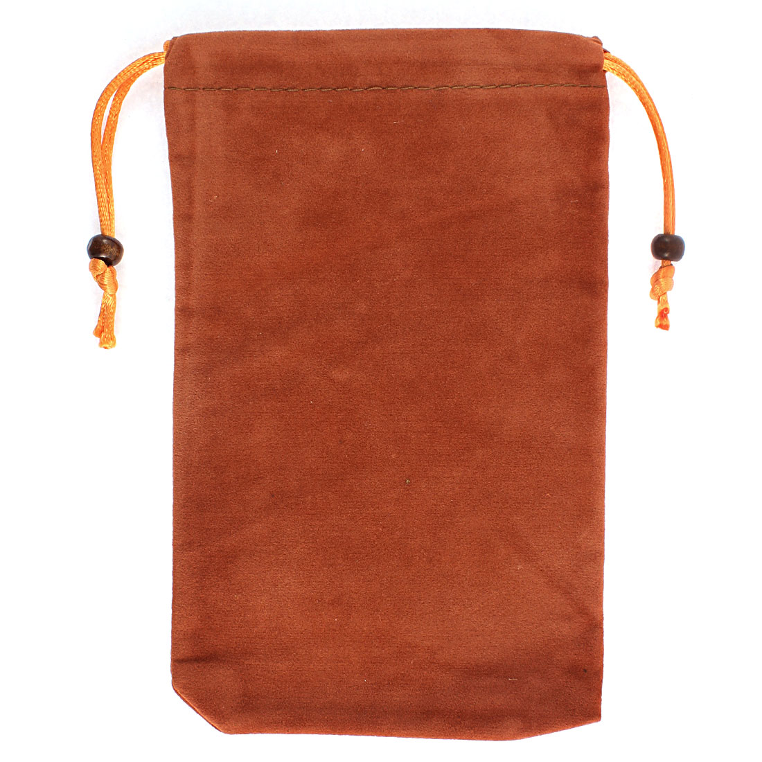 Rectangle Shaped Drawstring Cell Phone Pouch Sleeve Bag Brown 18x11.5cm