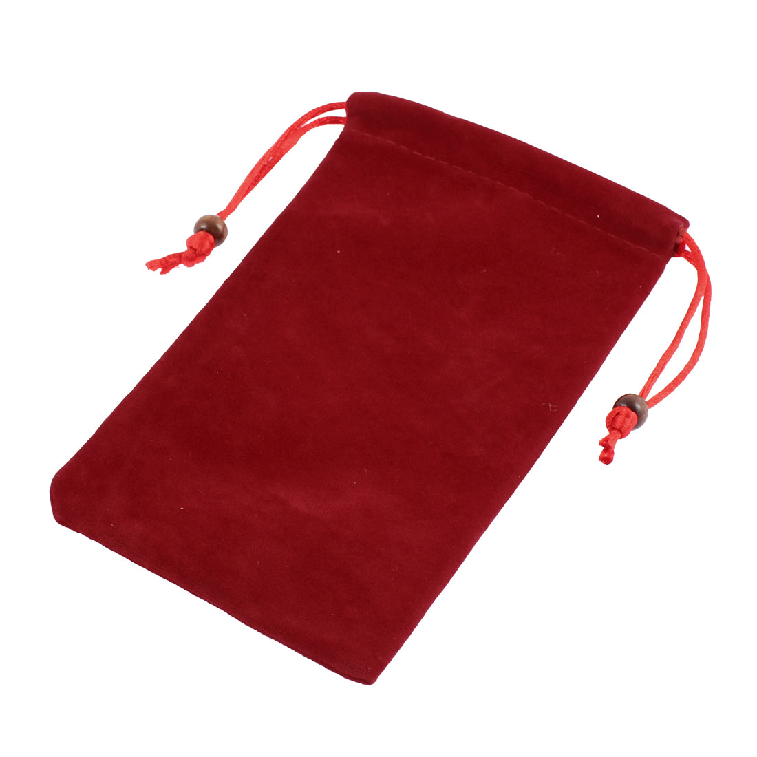 Drawstring Closure Cell Phone Pouch Sleeve Bag Case Dark Red 15.5 x 9.5cm