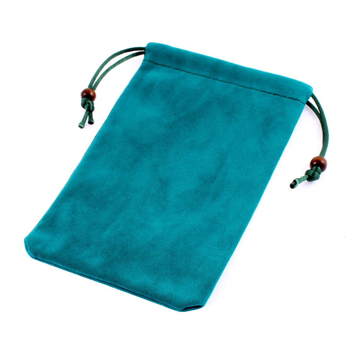 "Velvet Cell Phone Smartphone Pouch Sleeve Bag Holder Cyan 6"" Long"