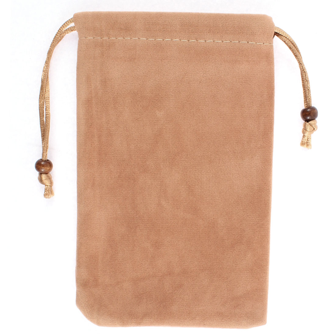 Velvet Rectangle Shaped Drawstring Sundries Cell Phone Pouch Sleeve Bag Camel