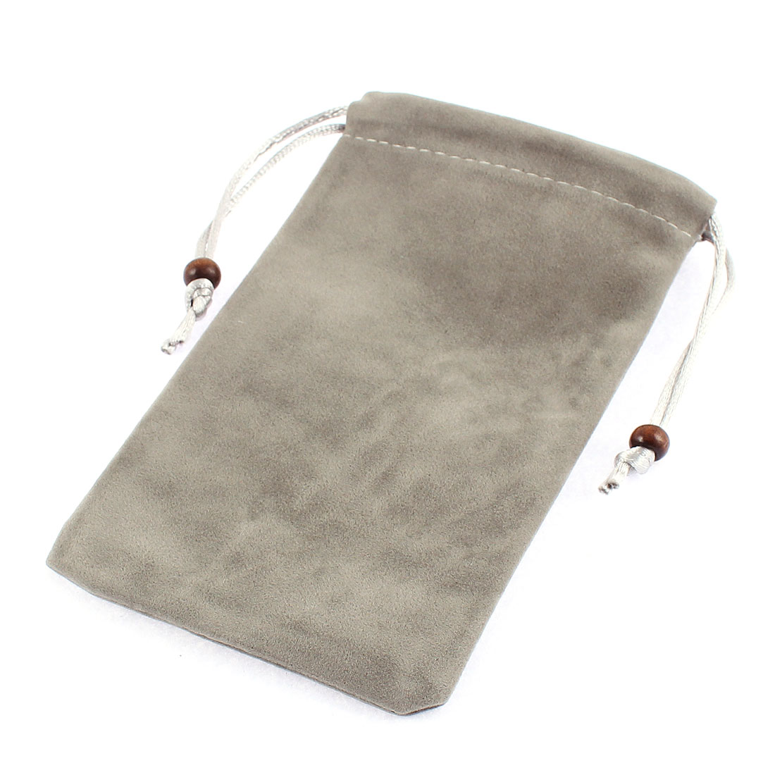 Drawstring Closure Cellphone MP3 MP4 Coin Cards Holder Bag Pouch Gray