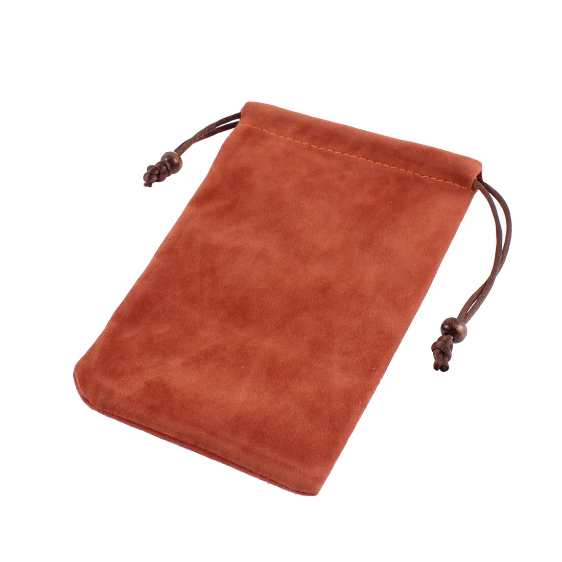 Velvet Cell Phone Smartphone Coin Pouch Holder Bag Brown 15.5 x 9.5cm