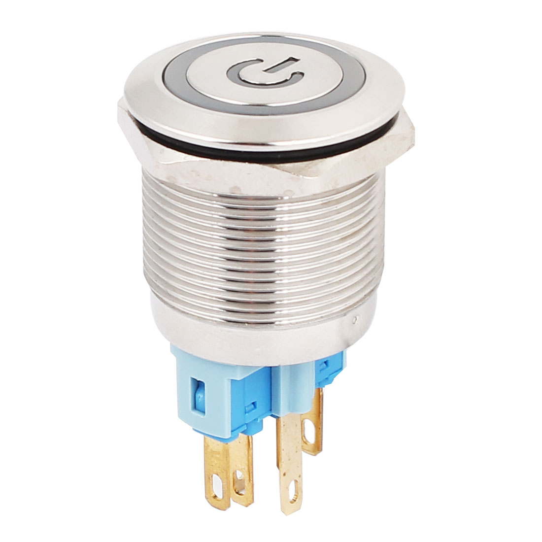 24V 22mm Dia Thread Blue LED Lamp Latching Metal Power Pushbutton Switch