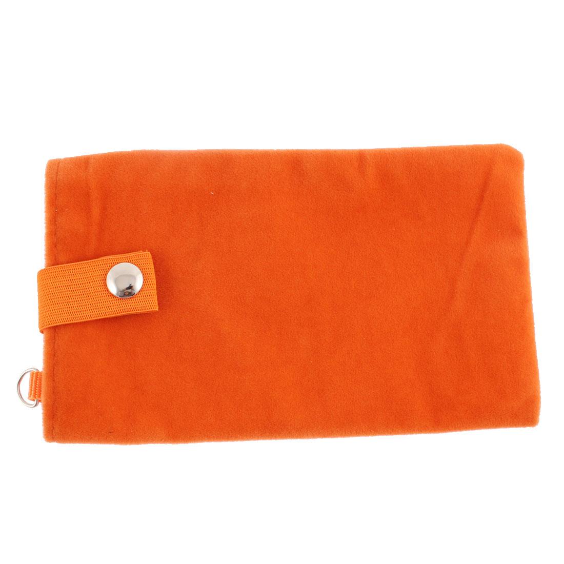 Velvet Magnetic Clasp Button Cell Phone Pouch Sleeve Bag Orange 16x9.5cm