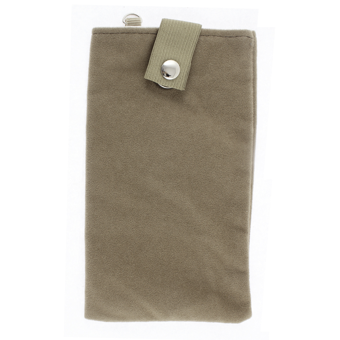 Velvet Magnetic Clasp Button Cell Phone Pouch Sleeve Bag Light Brown 18x11cm