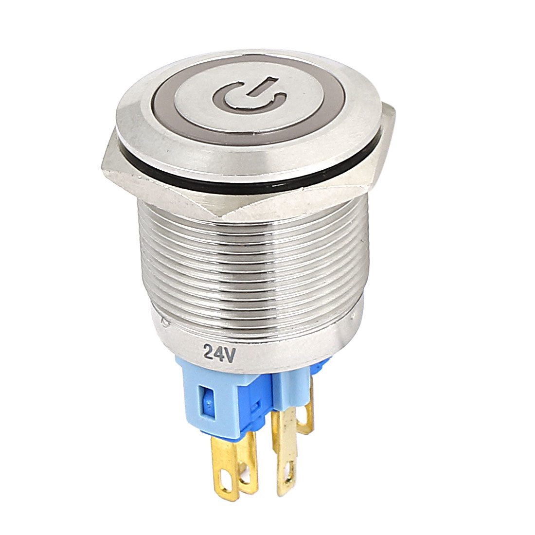 24V 22mm Dia Thread Blue LED Lamp Latchng Metal Power Pushbutton Switch