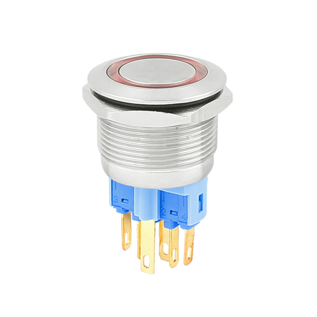 12V 22mm Dia Thread Red LED Angle Eyes Momentary Metal Pushbutton Switch