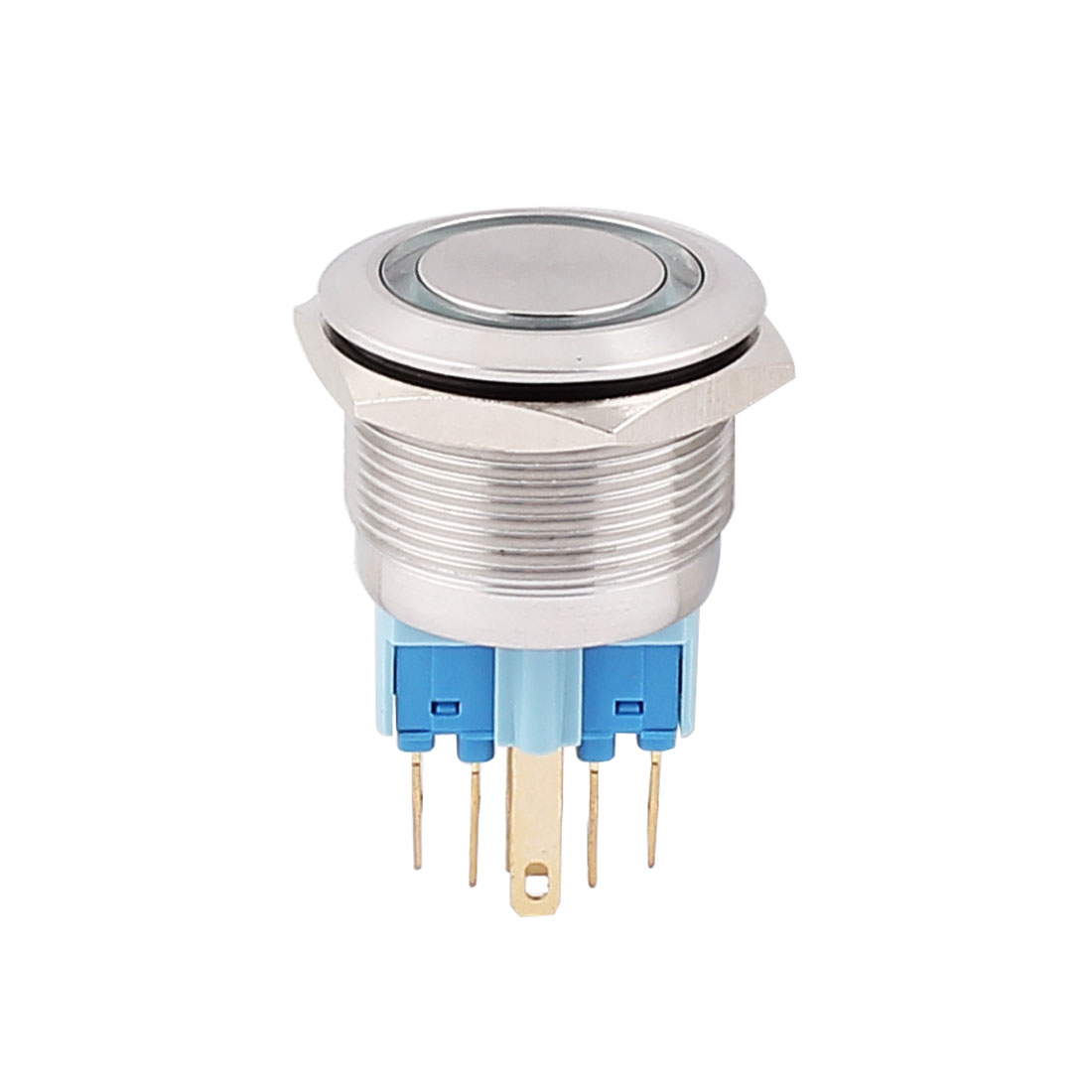 12V 22mm Dia Thread Green LED Angle Eyes Momentary Metal Pushbutton Switch