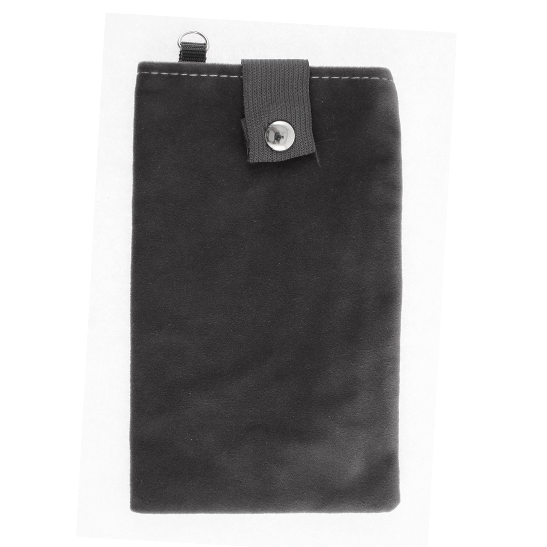 Velvet Magnetic Clasp Button Cell Phone Pouch Sleeve Bag Black Gray 18x11cm