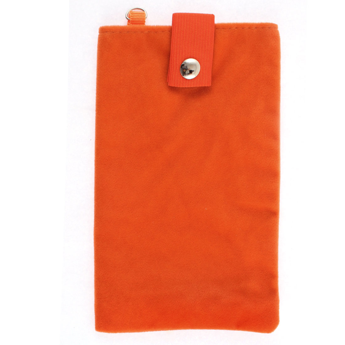 Dual Layer Magnetic Clasp Button Cell Phone Pouch Sleeve Bag Orange 18x11cm