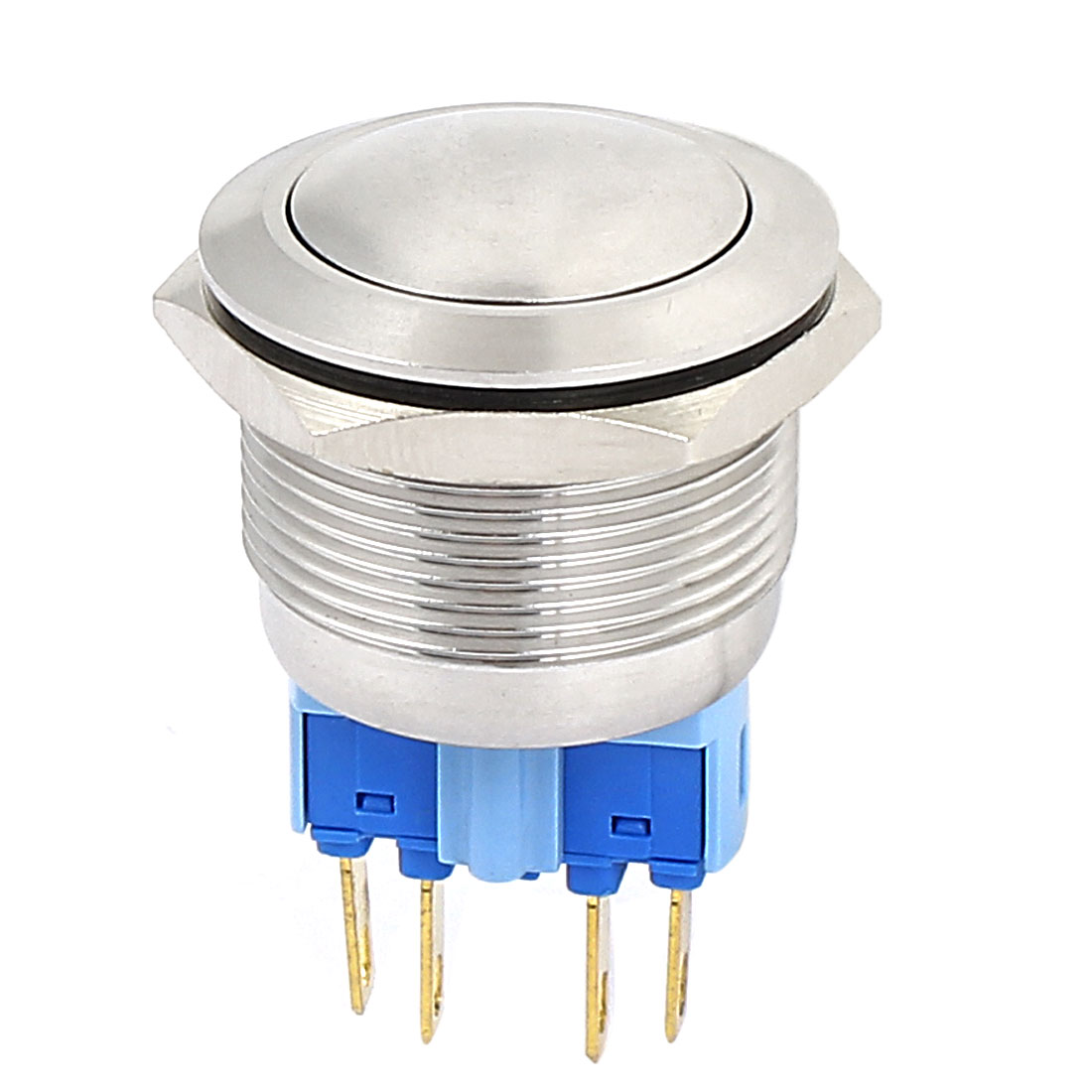 22mm Thread Dia DPST Momentary Stainless Steel Metal Pushbutton Switch