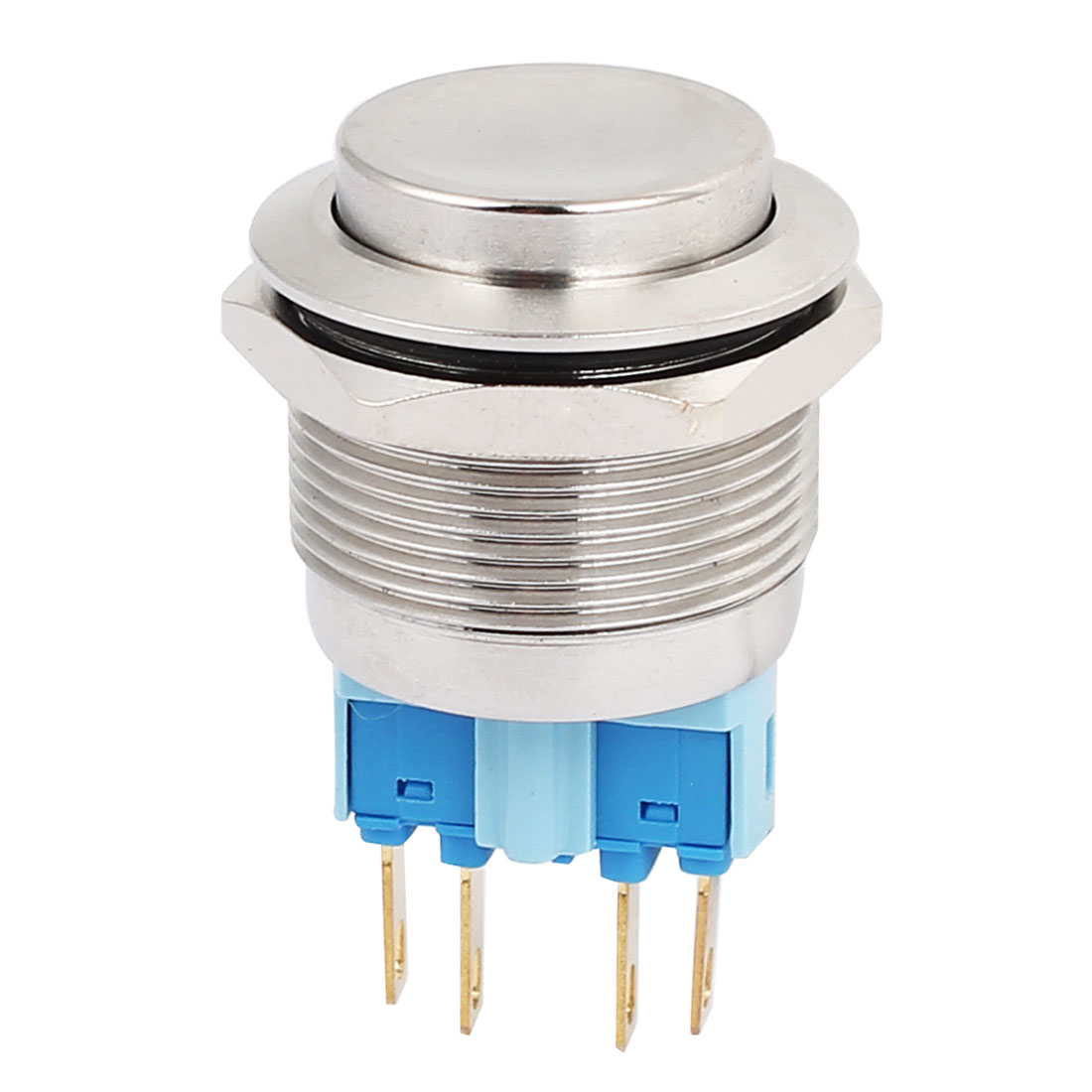 5A 250VAC 22mm DPST Momentary Metal Pushbutton Switch Raised Head Silver Tone