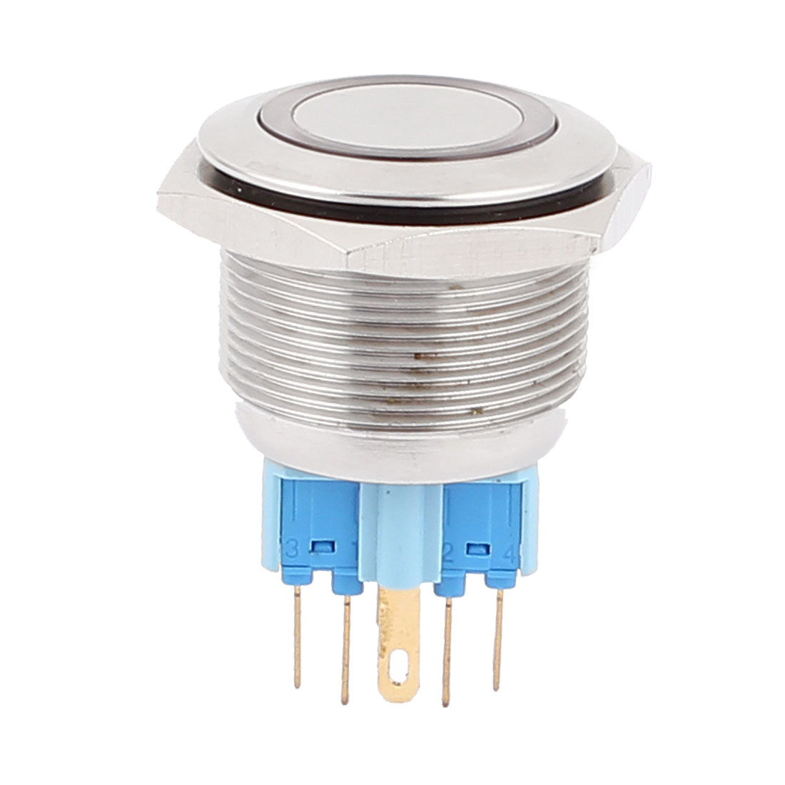 24V 25mm Dia Thread Red LED Angle Eyes Momentary Metal Pushbutton Switch