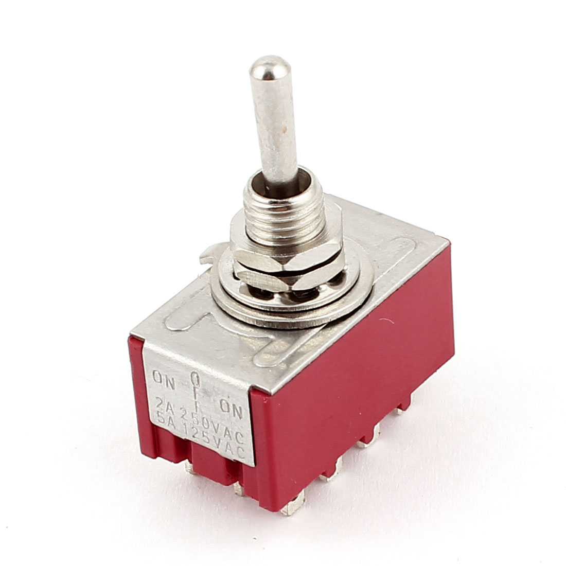 AC 2A 250V 5A 125V 4PDT ON/OFF/ON 3 Positions 12 Pin Electric Toggle Switch Red 6MM