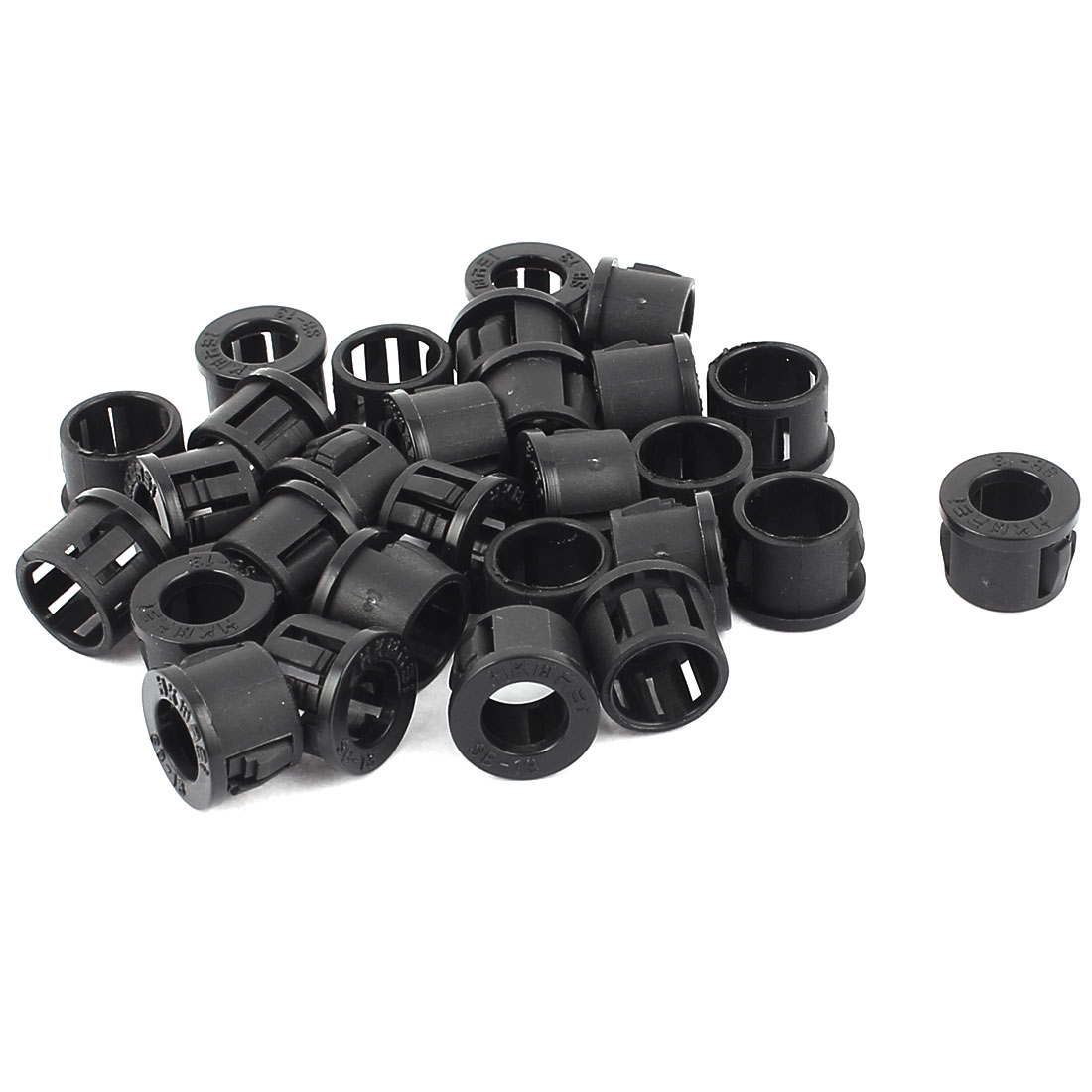 28 Pieces 10mm Panel Hole Round Cable Harness Protector Snap Bushing Black