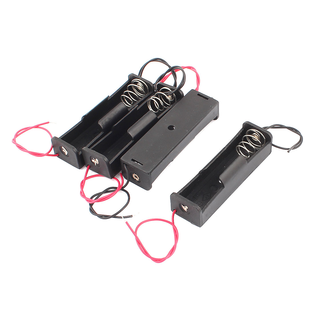 4 Plastic Battery Storage Case Holder 18650*1 Black with Wire Pack Delivery