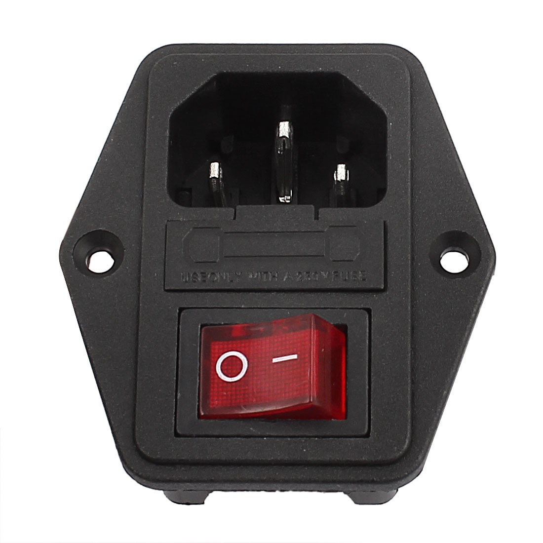 ss-8b-3 Inlet Male Power Socket with Fuse Holder & Red On/Off Switch 250V 10A