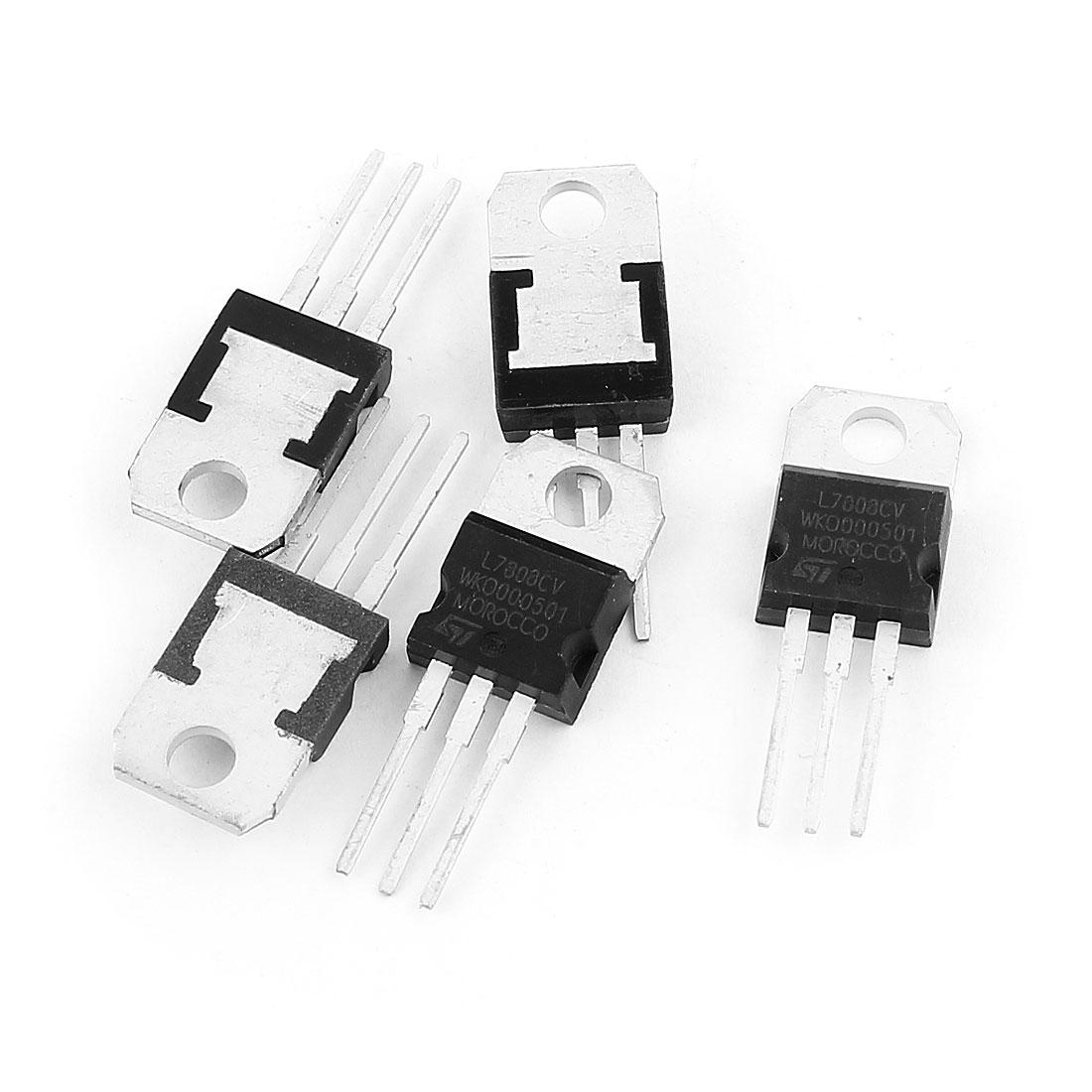 5 Pcs 3 Terminals 1.5A 8V 7808CV Postive Voltage Regulators