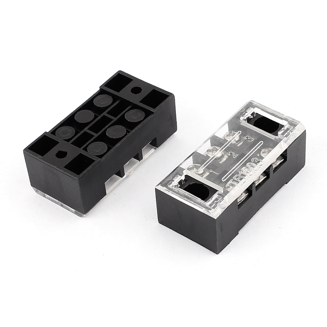 2 Pcs TB1503 Dual Rows 3 Positions 3P Terminal Blocks Barrier 600V 15A