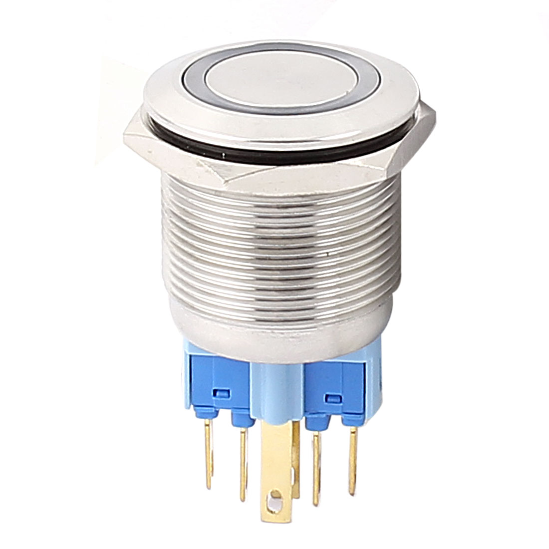 220V 22mm Dia Thread Blue LED Angle Eyes Latching Metal Pushbutton Switch