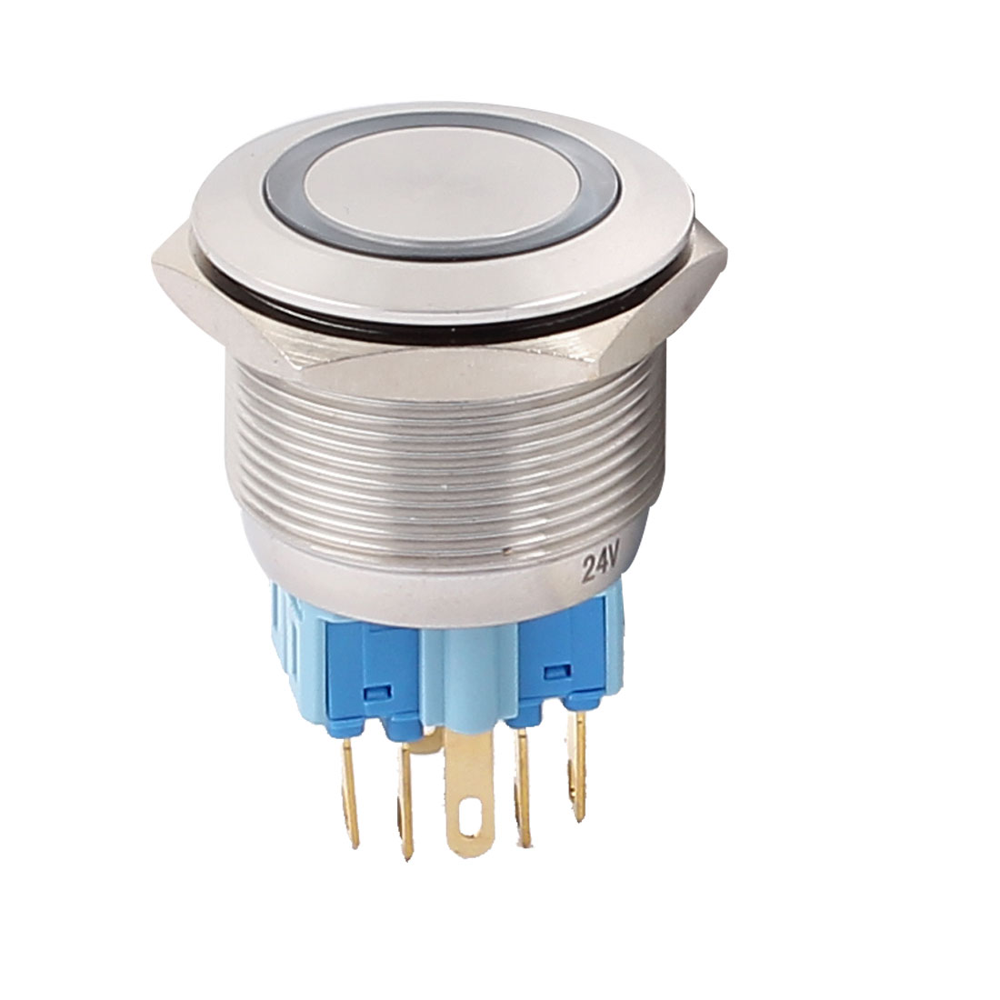 24V 25mm Dia Thread Blue LED Angle Eyes Momentary Metal Pushbutton Switch