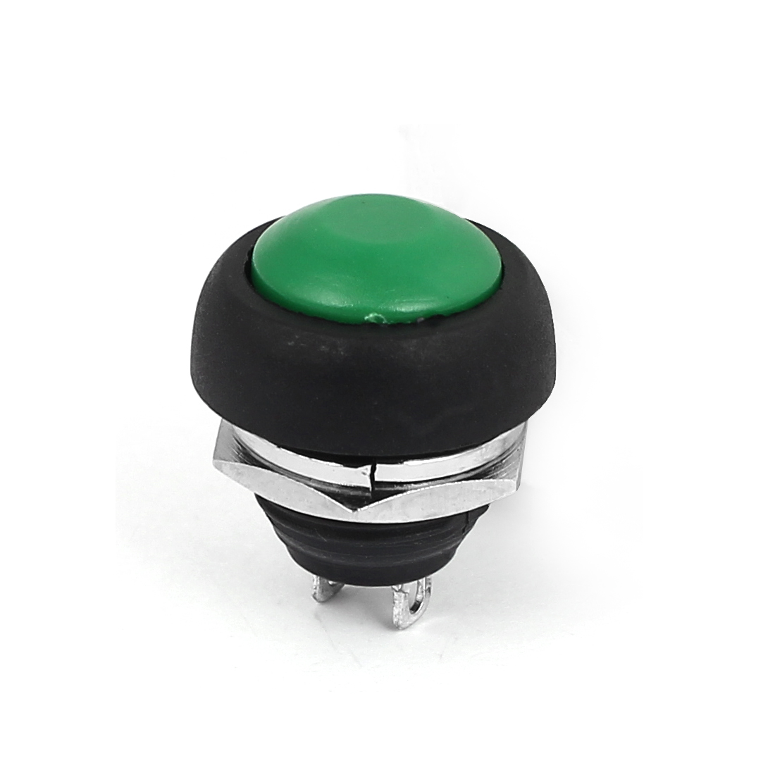 12mm Mini Waterproof Pushbutton Switch Momentary Type Green Plastic Head