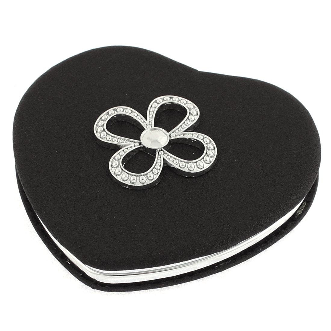 Heart Shaped Flower Detail Dual Side Folding Cosmetic Compact Mirror Black