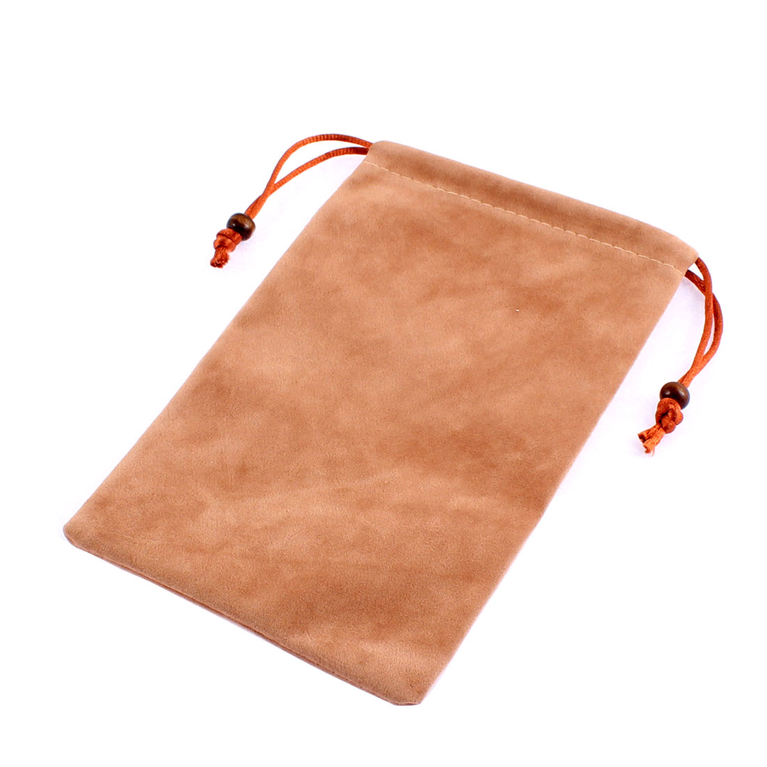Rectangle Shaped Drawstring Sundries Cell Phone Pouch Sleeve Bag Camel