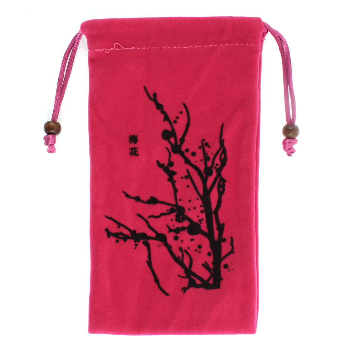 Drawstring Closure Plum Blossom Pattern Cell Phone Pouch Sleeve Bag Fuchsia