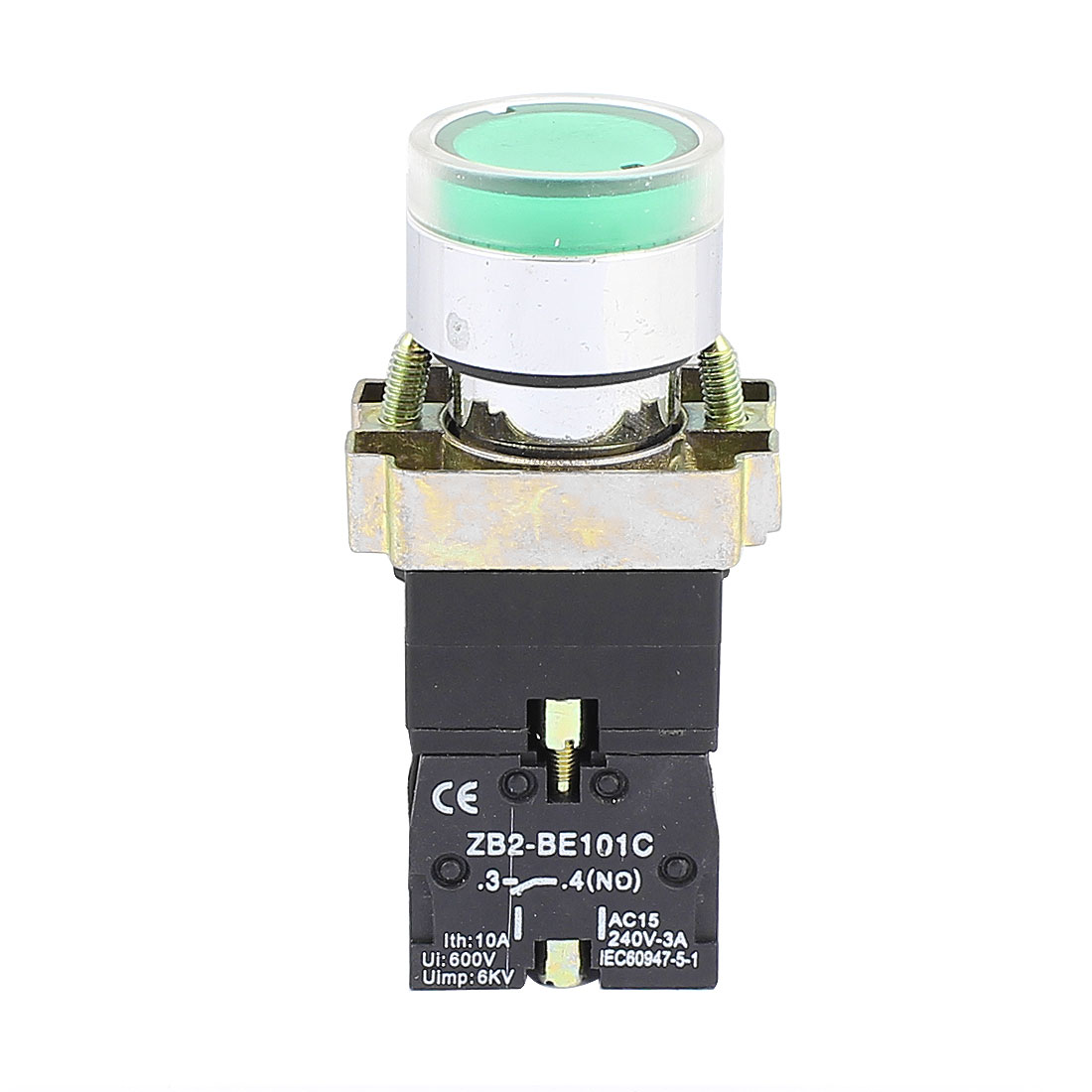 220VAC Green LED Indicator Momentary Emergency Stop Push Button Switch 600V 10A